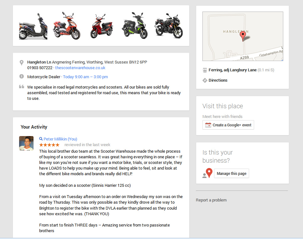 Google Places Review Example
