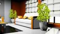 waiting room with orange and white leather furniture