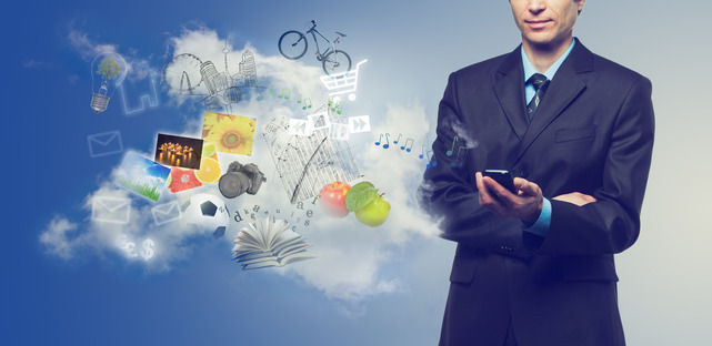 Businessman using mobile phone with touchscreen and cloudy servi